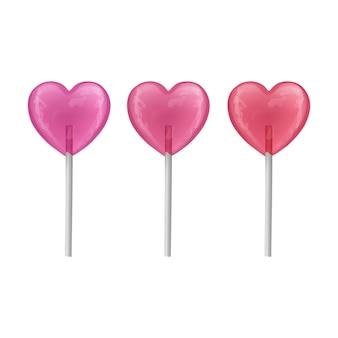 Conjunto de pirulitos doces coloridos. doces em forma de coração na vara.
