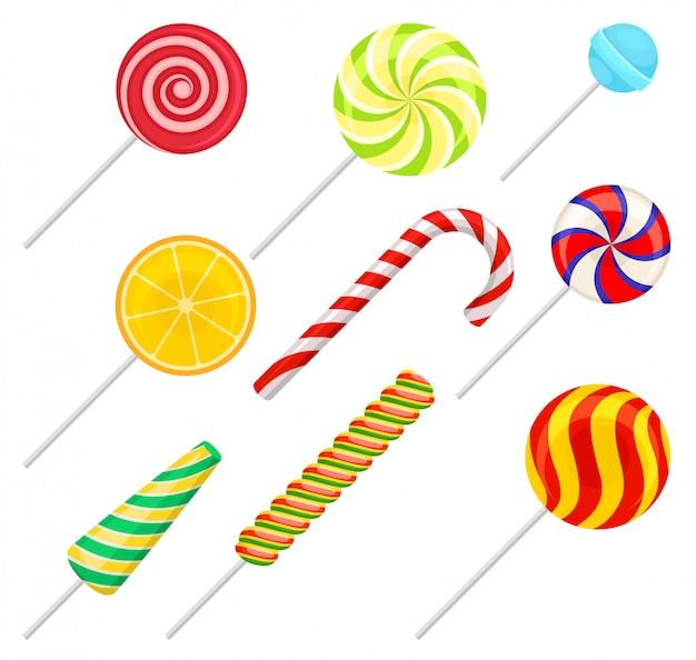 Conjunto de pirulitos doces, doces coloridos, doces de açúcar ilustração