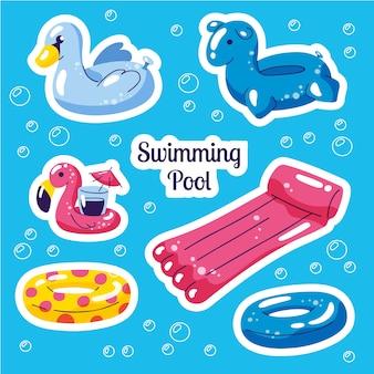 Conjunto de piscina inflável. adesivos de brinquedos de água bonito