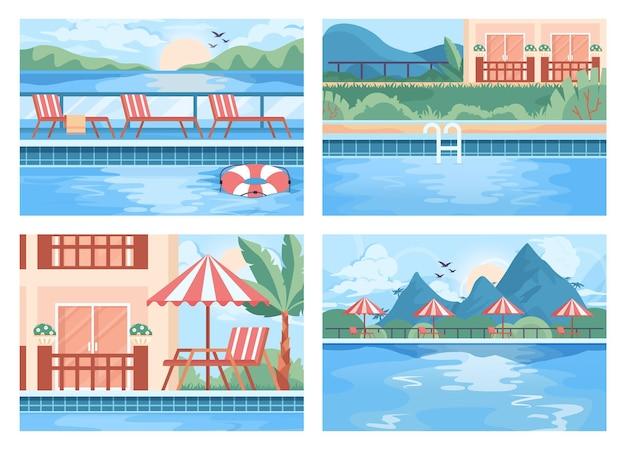 Conjunto de piscina pública. piscina do resort com água azul limpa. grande moderno
