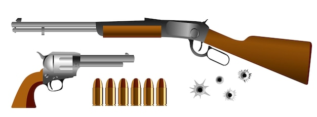 Conjunto de pistolas realistas ou ou arma com balas. vetor eps.