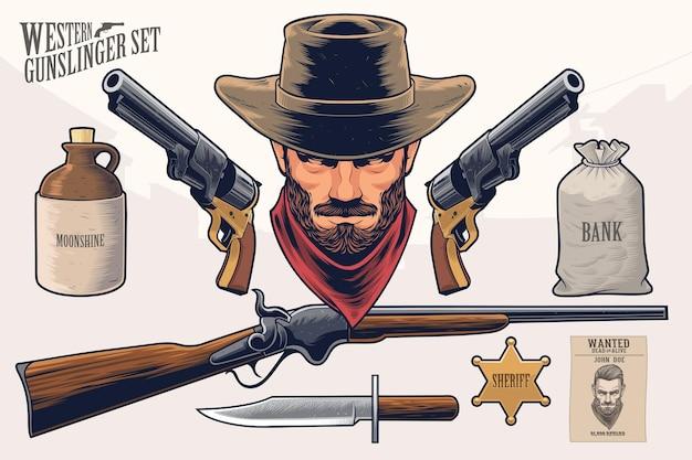 Conjunto de pistoleiro ocidental