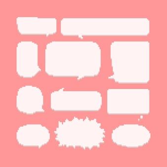 Conjunto de pixel art de balão de fala em quadrinhos.