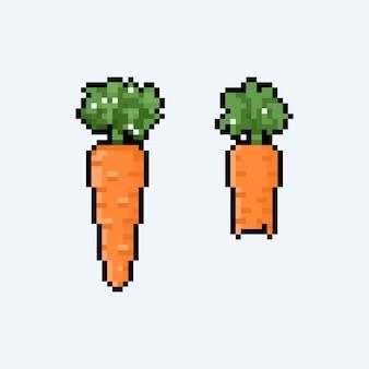 Conjunto de pixel art de cenoura.