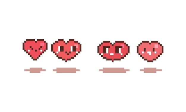 Conjunto de pixel art de coração bonito dos desenhos animados.