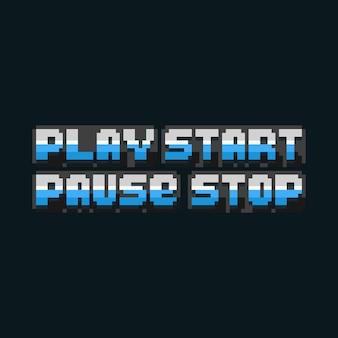Conjunto de pixel art de design de texto de pausa de reprodução