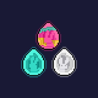 Conjunto de pixel art de ícone de ovo de páscoa cortado em papel