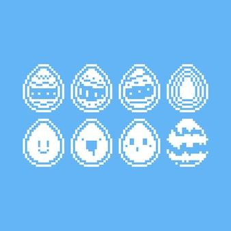 Conjunto de pixel art de ícone de ovo de páscoa monocromático