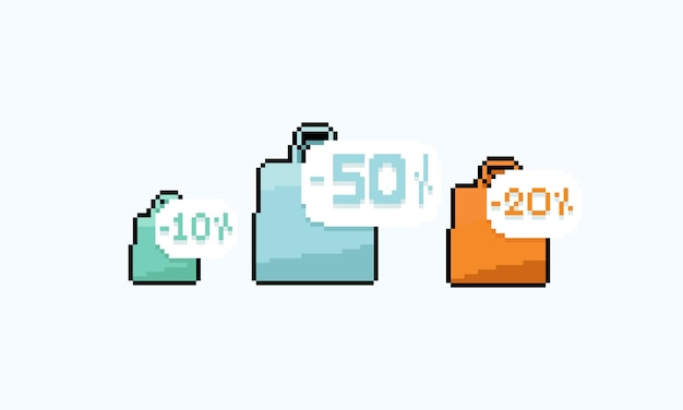 Conjunto de pixel art de ícone de sacola de compras com número de desconto.
