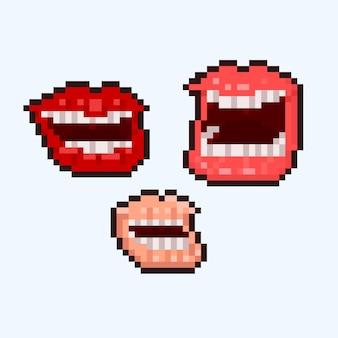 Conjunto de pixel art de ícones de boca risonha
