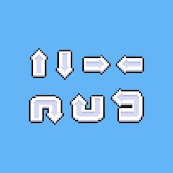 Conjunto de pixel art de ícones de seta de desenho animado