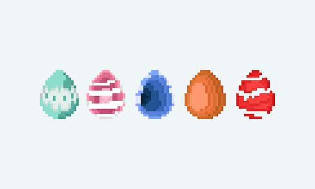 Conjunto de pixel art de ovo de páscoa de fantasia.