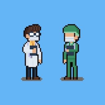 Conjunto de pixel art de personagem de desenho animado médico