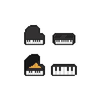 Conjunto de pixel art de piano.