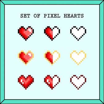 Conjunto de pixel hearts premium vector