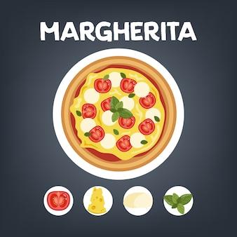 Conjunto de pizza de diferentes tipos. margherita e pepperoni