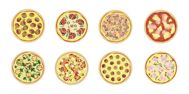 Conjunto de pizza de diferentes tipos. vista do topo. pepperoni, vegetariano, havaiano, pizza de frutos do mar e outros