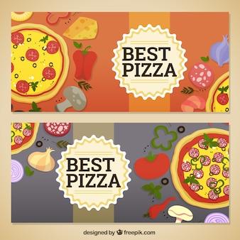 Conjunto de pizza e ingredientes banners