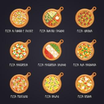 Conjunto de pizza italiana em tábuas de madeira
