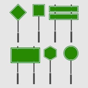 Conjunto de placa de estrada de tráfego verde