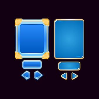 Conjunto de placa de interface do usuário de jogo de diamante de geléia dourada pop up para elementos de ativos de gui