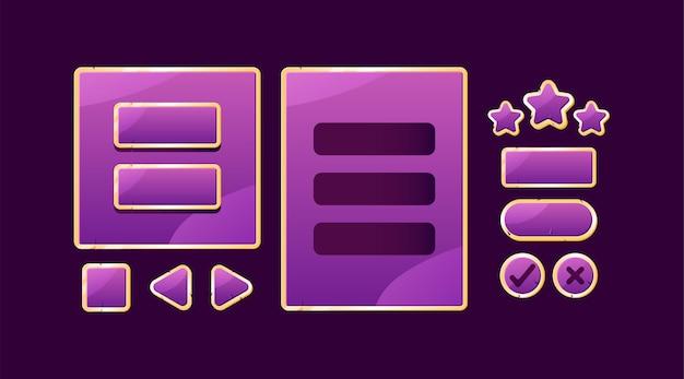 Conjunto de placa de interface do usuário de jogo roxa dourada pop-up e botão para elementos de ativos de gui