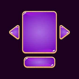 Conjunto de placa de interface do usuário do jogo de geléia de madeira pop-up para elementos de ativos de gui