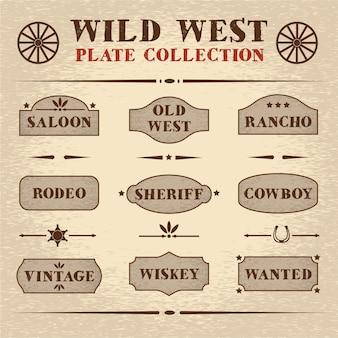 Conjunto de placa de madeira com estilo antigo
