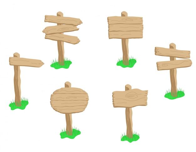 Conjunto de placa de madeira de desenho animado isolado no branco