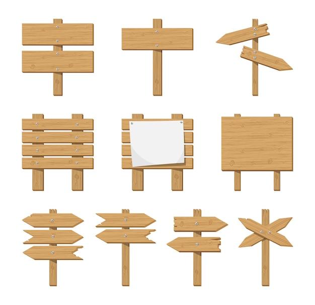Conjunto de placa de madeira e sinal de estrada.