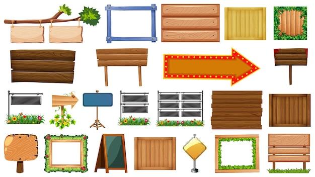 Conjunto de placa de madeira isolado