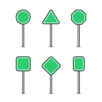 Conjunto de placa de sinal de estrada em branco. sinal de trânsito rodoviário