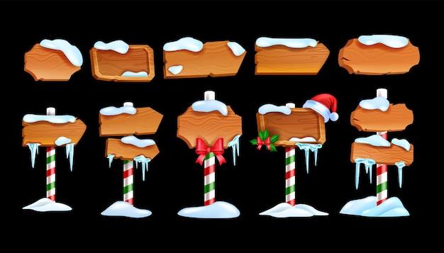 Conjunto de placa de sinalização de madeira de inverno vetor temporada de natal cartoon kit de banner vintage painel de estrada de madeira compensada