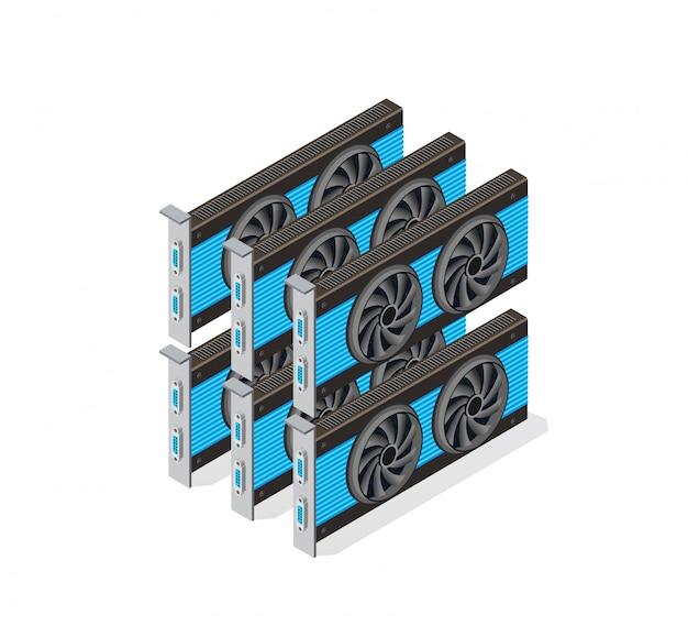 Conjunto de placa de vídeo de bitcoin de mineração