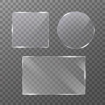 Conjunto de placa de vidro em fundo transparente