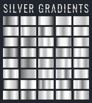 Conjunto de placas brilhantes com efeito prata