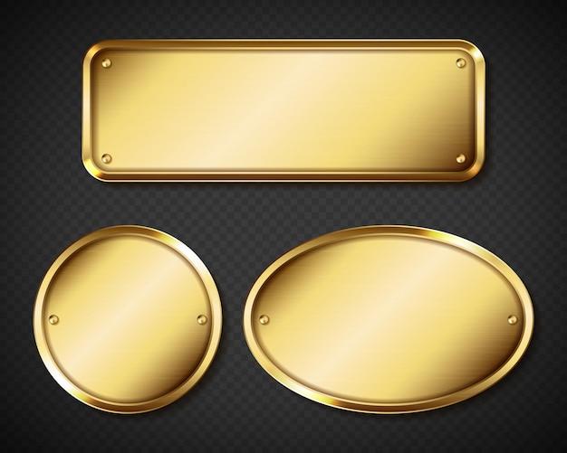 Conjunto de placas com nome dourado