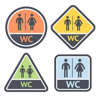 Conjunto de placas de banheiro