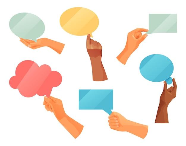 Conjunto de placas de bolha do discurso, mão segurando nuvens de nota de texto