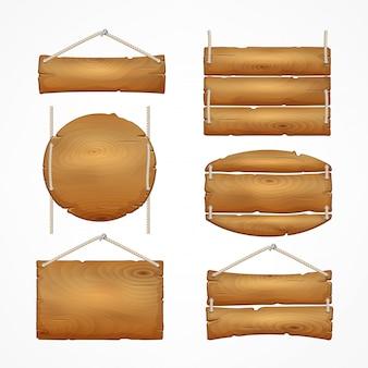 Conjunto de placas de madeira com corda. sinais de prancha de madeira dos desenhos animados.
