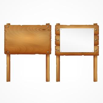 Conjunto de placas de madeira isoladas