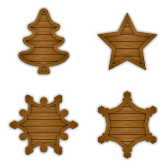 Conjunto de placas de madeira para letreiros de natal