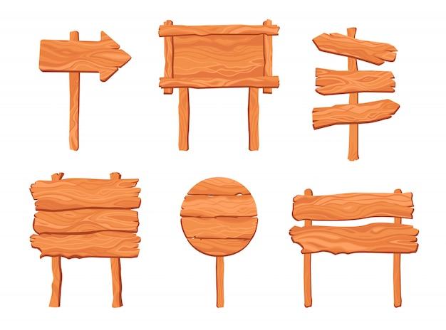 Conjunto de placas de madeira rústica