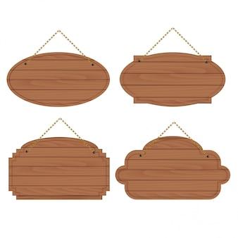 Conjunto de placas de madeira velhas.