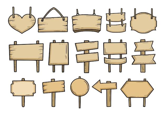 Conjunto de placas de madeira vintage