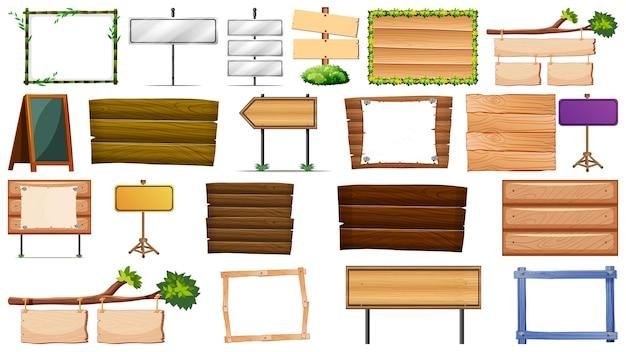 Conjunto de placas de madeira