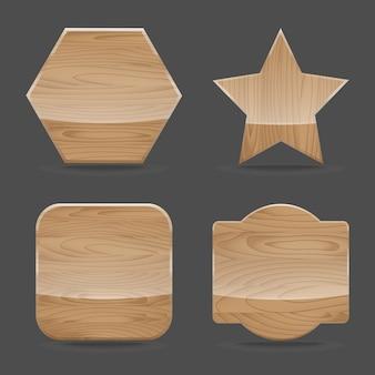 Conjunto de placas de sinal de madeira com brilhante