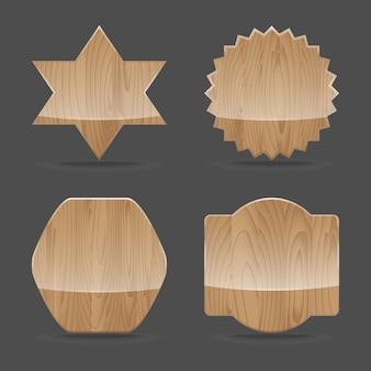 Conjunto de placas de sinal de madeira com brilho. ilustração vetorial