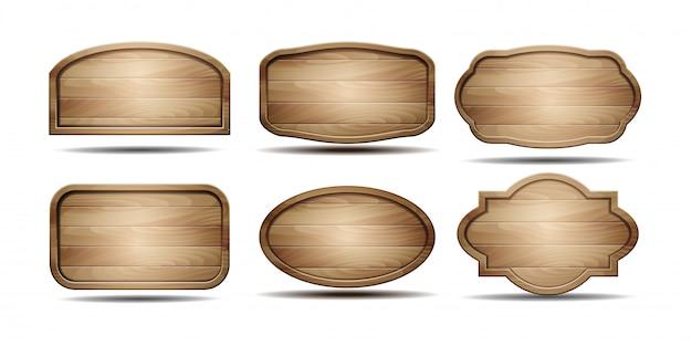 Conjunto de placas de sinal de madeira isolado