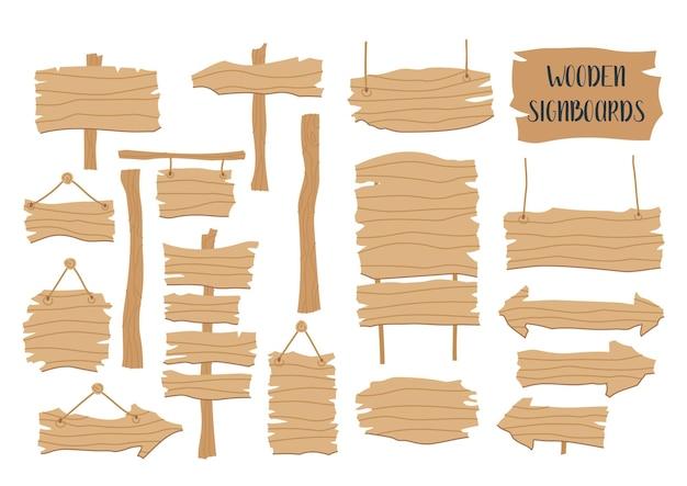 Conjunto de placas de sinalização de madeira em fundo branco